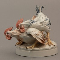 Coppia di Galli ceramica Cacciapuoti anni 40